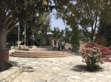 Symon and Thenassi at the memorial of the two dead Greek Cypriot soldiers killed during the 1974 conflict