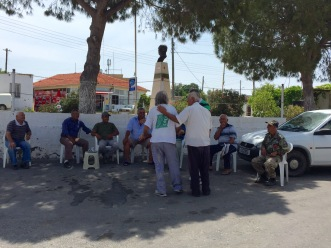 Andreas and Ibrahim meeting other Turkish Cypriots of Agia Irini