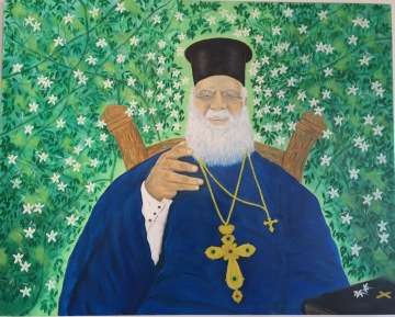 A painting of Father Andreas hanging on his wall