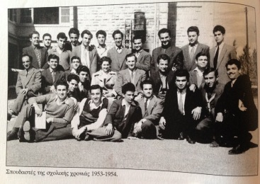 Christogolos while he was at teacher's training college, with his Turkish Cypriot classmates