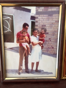 Naile with her husband and two children