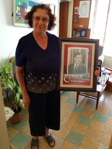 Sadiye with a photo of her husband