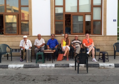 James and I sitting with Niyazi, Ibrahim and Emir outside of the CTP office.
